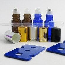 24 шт. x 5 мл натуральная синяя Янтарная маленькая стеклянная бутылка с роликом с пластиковой крышкой парфюмерной емкости для пробников бутылочек с эфирным маслом