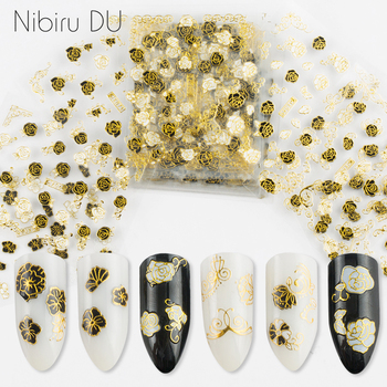 цена на 12 sheet Nail Stickers of Design Adhesive Craft Golden Black 3D Lace Petal Nail Art Decals DIY Fashion Wraps Tips Manicure Tools