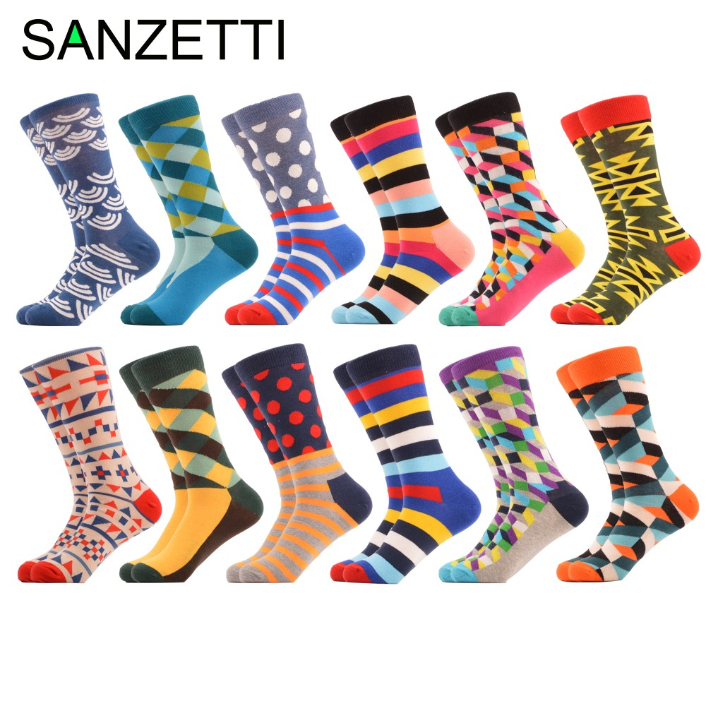 SANZETTI 12 Pairs/lot Mens Bright Colorful Socks Soft Combed Cotton Socks for man Funny Casual Socks Wedding Gift US 7.5-12