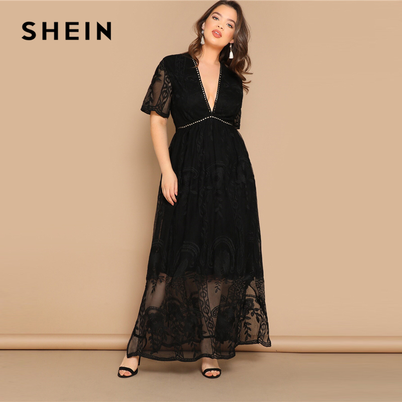 SHEIN Plus Size Black Eyelet Lace Insert Plunge Neck Mesh Overlay Dress 2019 Women Summer Glamorous