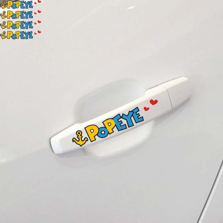 4 X POPEYE Car Door Handle Stickers and Decal for Toyota Chevrolet Volkswagen Skoda Polo Golf Hyundai Kia Lada Renault Peugeot