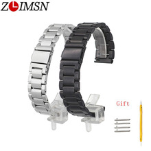 ZLIMSN Watch Band Folding Clasp Quick Release Pin Strap Black Silver For Mens Women Waterproof Stainless Steel 18mm 20mm