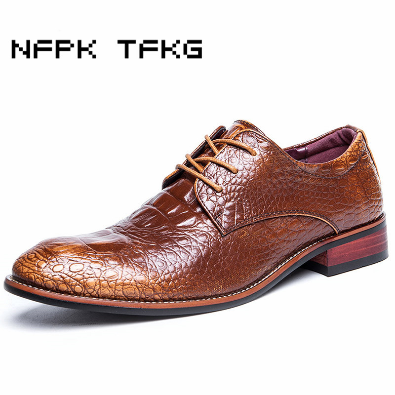 men luxury wedding party dress crocodile grain genuine leather shoes print lace up teenage oxfords shoe breathable zapatos point