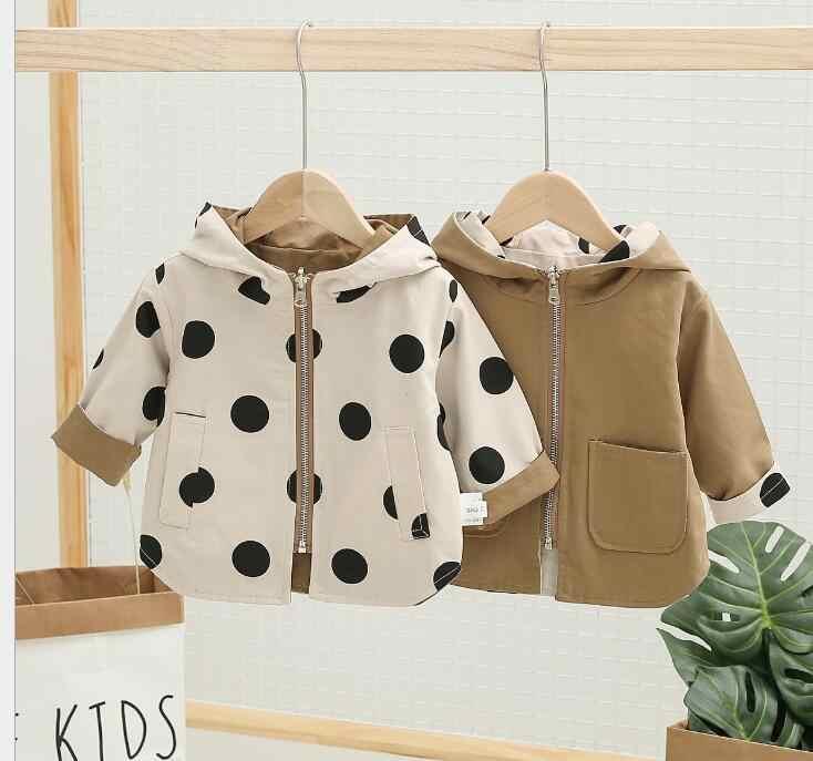 Весенне-Осенняя детская повседневная куртка для маленьких мальчиков и девочек, тонкий Детский кардиган на молнии из двух предметов, топ с длинными рукавами и капюшоном в горошек