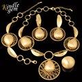 2017 de La Moda de Dubai Oro Plateó Sistemas de La Joyería de Moda Bijoux Boda Nigeriano Beads Africanos Joyería Establece Elegante Collar de Traje