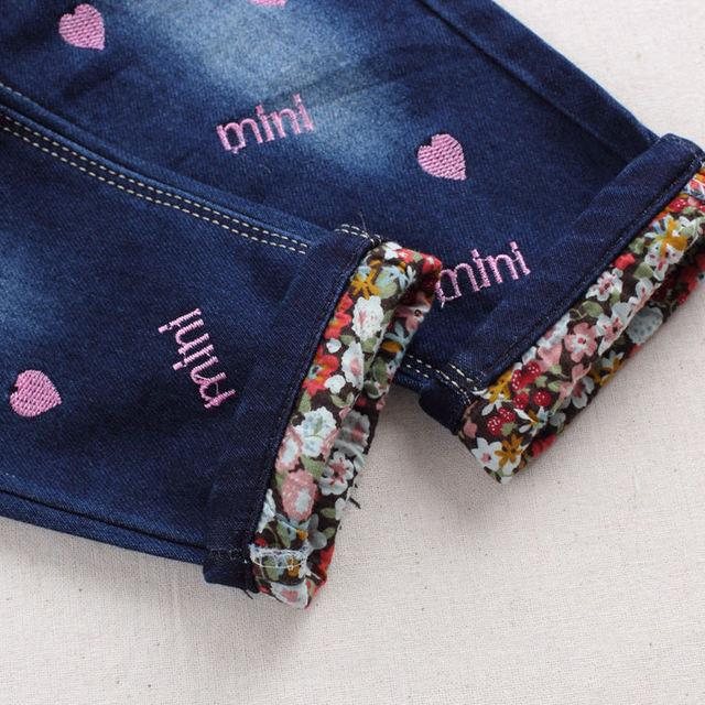 Heart Print Baby Girl Denim Pants