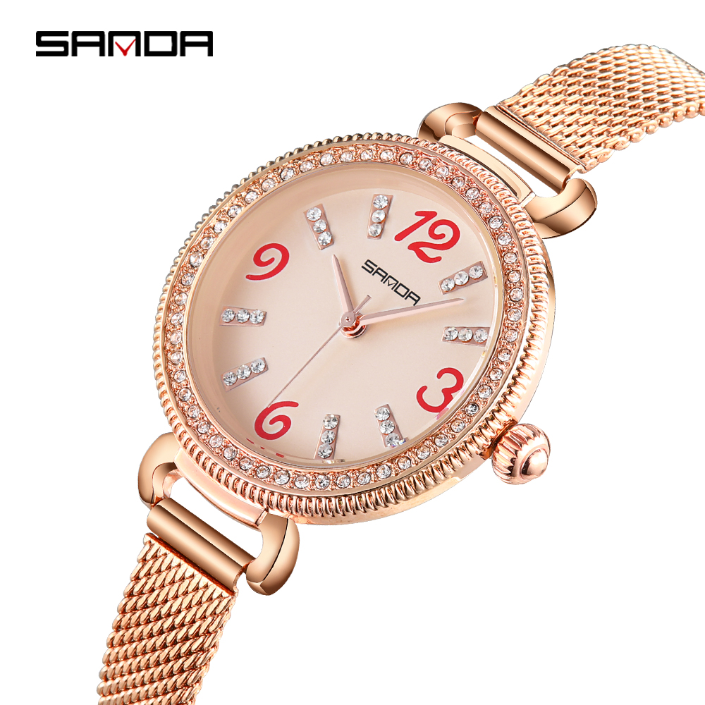 SANDA Delicate Luxury Watch Women Charms Milan Mesh Belt Quartz Wristwatches Ladies Jewelry Watches Clock Woman montres femme