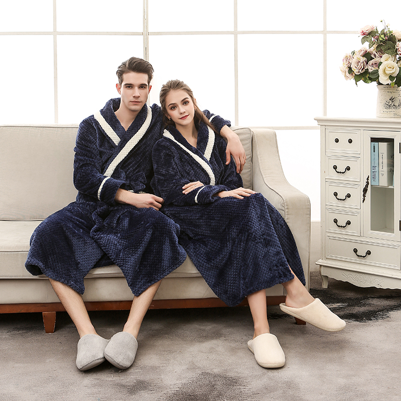 Men Bathrobe Long Flannel Warm Bath Robe Winter Thicken Kimono Robes Couples Male Femme Dressing Gown Sexy Sleepwear Nightwear