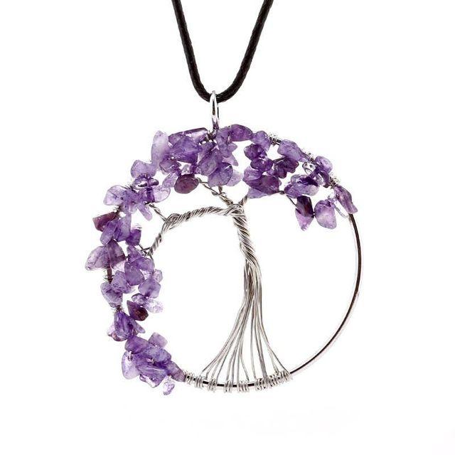 Kristall lila Baum des Lebens Charme Anhänger Edelsteine Chakra ...