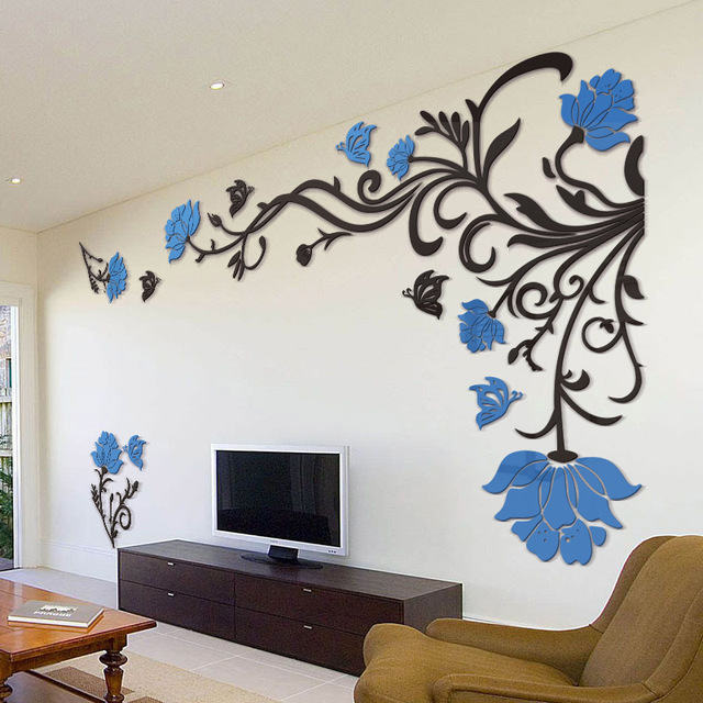 Attractive 3D Flower Rattan Wall Stickers Home Decor Living Room Art TV Background  Acrylic Mirrored Decorative Sticker