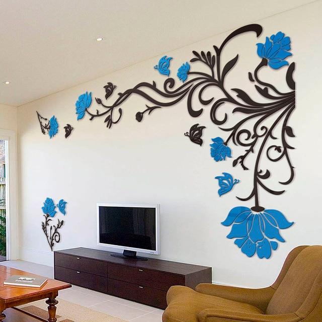 3d Flower Rattan Wall Stickers Home Decor Living Room Art