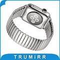 22mm 24mm pulseira elástica para iwatch apple watch 38mm 42mm pulseira de aço inoxidável strap banda com adaptador do conector prata