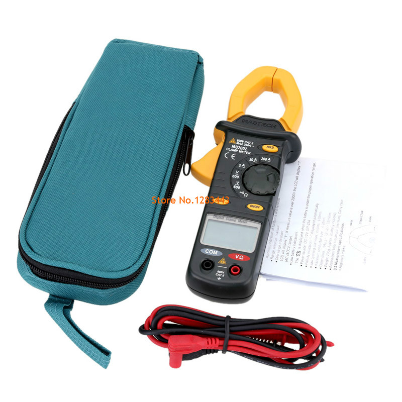 MASTECH MS2002 Digital Clamp Meters AC/DC Voltage Current Manual Range Resistance Electronic Tester Meter(With pouch bag) mastech m266 digital ac clamp meter ac dc voltage ac current tester