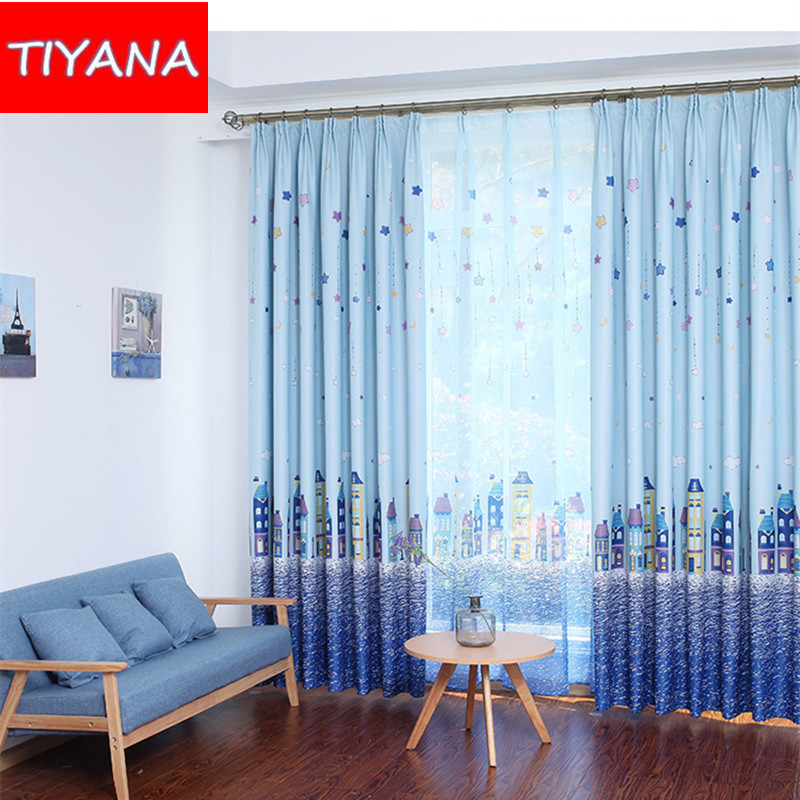 Blue Star And Castle Curtains For Child Room Cartoon Tulle Baby Boys Bedroom