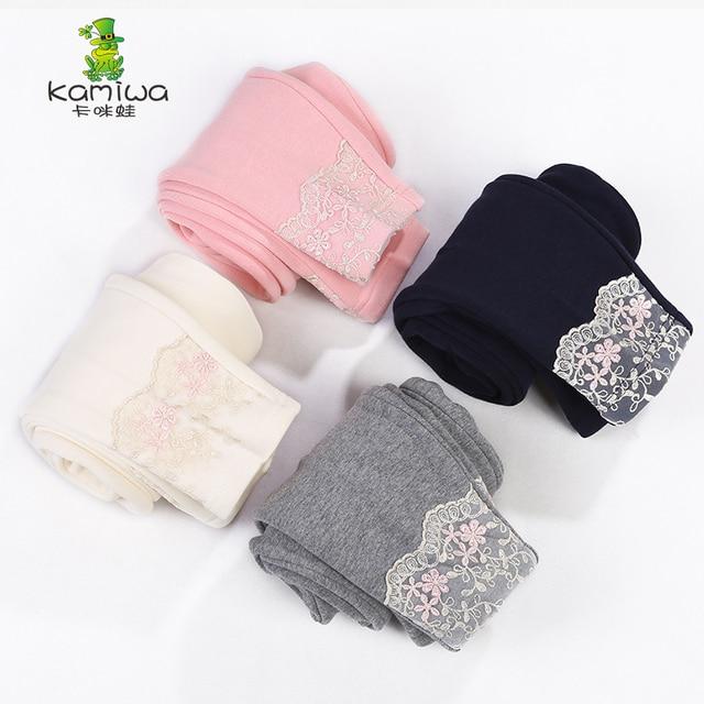 KAMIWA 2017 Autumn Winter Cotton Voile Lace Girls Legging 4-colour Casual Long Trousers Children's Pants Clothing Kids Clothes