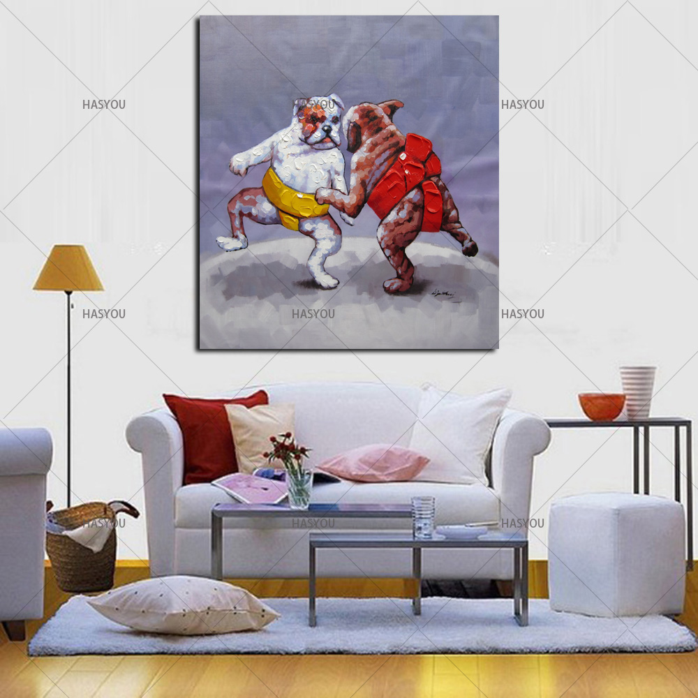 picture paint on canvas Hand Painted oil painting Dogs Wrestling match home decoration craft gifts animals lovely dog Wall Decor