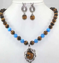 "free shipping fine Tiger's Eye/Tiger eye pendant necklace Earring Set 17"" Crystal Healing(China)"