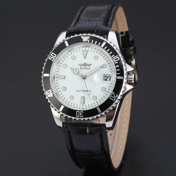 WINNER Round Calendar Watch Classic Diamond White Dial Stainless Steel Case Wristwatch Leather Band Mechanical Watch