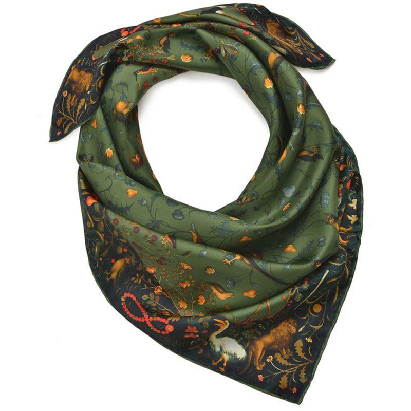 Spring Scenery & Brids Print 100% Twill Silk Scarf Women Ladies Square Silk Scarves Shawl Wraps OL Clothing Accessory