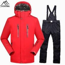 SAENSHING сноубордических костюмах, мужчины-30 градусов теплая зима лыжный костюм мужчины Водонепроницаемый 10000 воздухопроницаемый лыжная куртка сноуборд брюки наборы