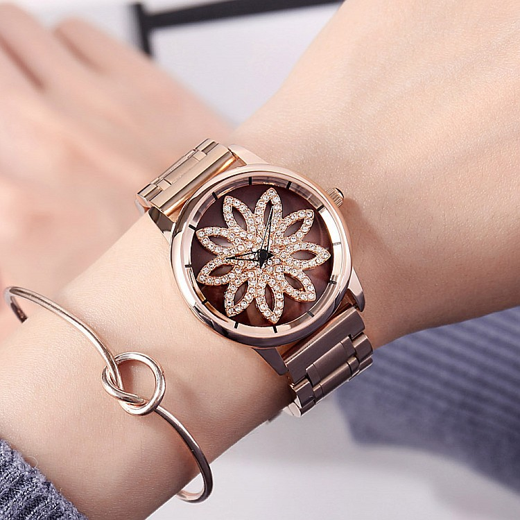 2018 Luxury Ladies Crystal Rotation Watch Women Stainless Steel Dress Watches New Fashion Rose Gold Female Quartz Wristwatches luxury brand gold watches women quartz dress watches fashion ladies stainless steel rhinestone crystal analog wristwatches ac026