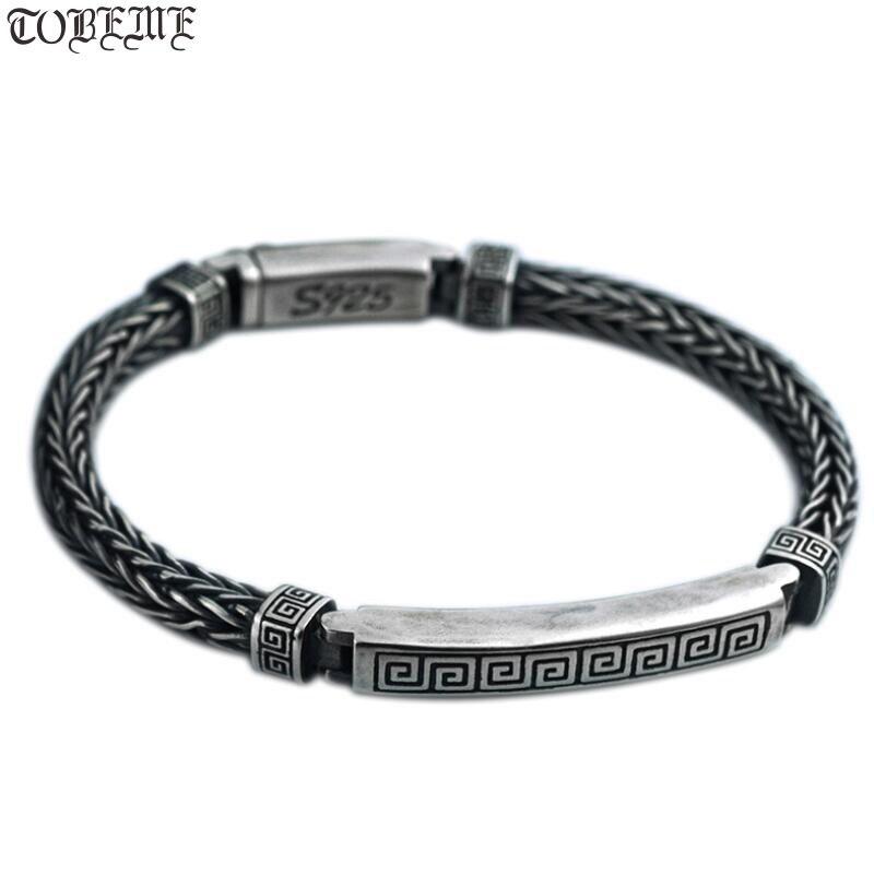 Handcrafted 100 925 Silver Man Bracelet Vintage Sterling Chain Bracelet Pure Silver Good Luck Symbol Bracelet