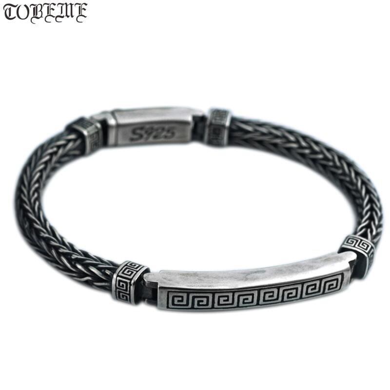 Bracelet homme en argent 100% 925 artisanal Bracelet chaîne Sterling Vintage Bracelet symbole de bonne chance en argent pur-in Bracelets ficelle et chaîne from Bijoux et Accessoires    1