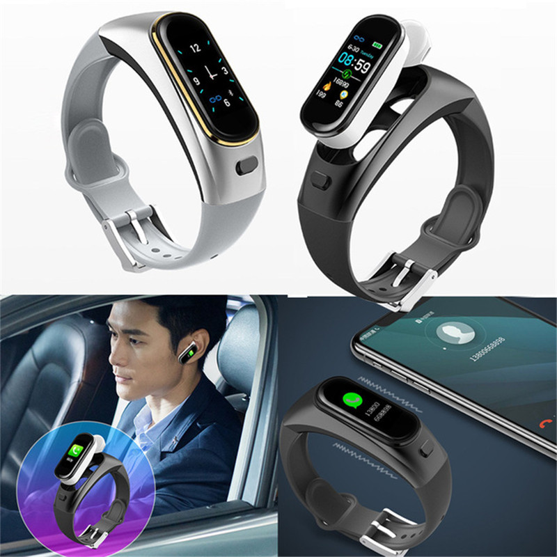 H109 Fitness Tracker Talk Band Color Screen Smart Bracelet 2 in 1 Separate Heart Rate Blood