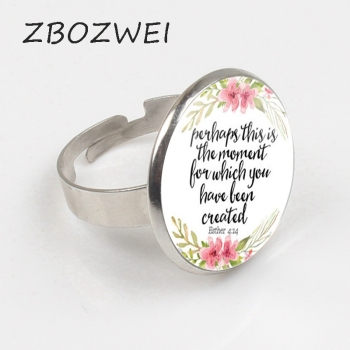 ZBOZWEI New Perhaps This is the Moment for which you have Been Created Ring Inspirational Jewelry Esther 4:14 Christian Gifts image