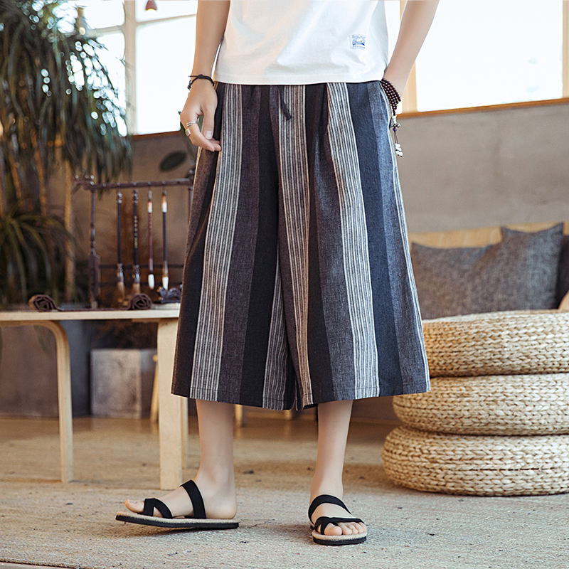 Male Skirt Trousers Thailand Streetwear Travel Wide Leg Pant Men Summer Casual Loose Stripe Harem Pant