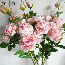 Yo cho 5 cabeças flores de seda rosa artificial flor peônia buquê artificial flor branca peônias decoração do casamento casa flores falsas