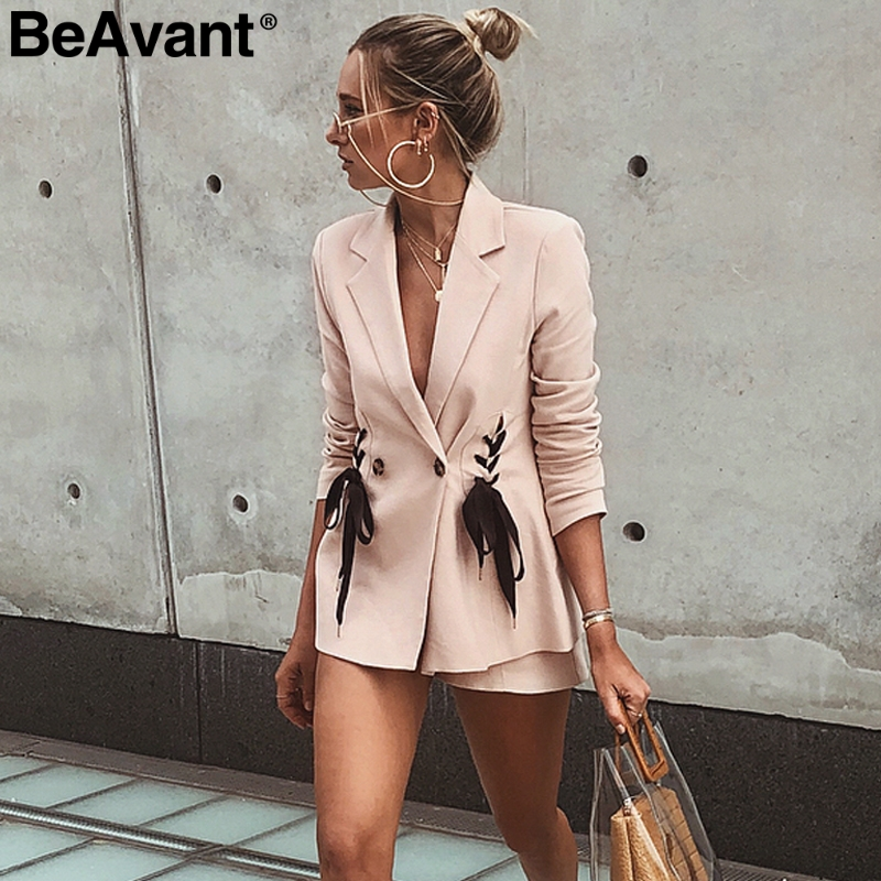Beavant Lace Up Pocket Ladies Blazer Brief Double Breasted Female Winter Coat Autumn Office Suit Pink Women Blazer Overcoat 2018