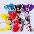 Vermelho azul rosa dançarina palco pena artificial produtividade sexy cabaret dança carnaval dança roupas trajes de penas para as mulheres