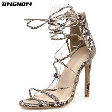 be65182d8273 TINGHON Sexy Fashion Womens Sandals Lace-up Open Toe Gladiator Thin High  Heels Sex y