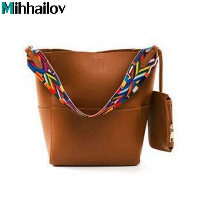 d668830facbd Luxury Brand Designer Bucket bag Women Leather Wide Color Strap Shoulder  bag Handbag Large Capacity Crossbody bag XS-55