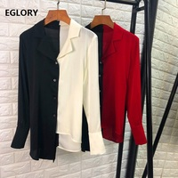 Tops Fashion Silk Blouse Shirt Women Notched Collar Color Block Patchwork Asymmetrical Style Casual Blouses Feminino Blusas 2019