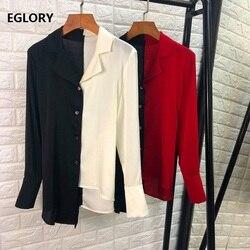 Tops Mode Silk Bluse Shirt Frauen Kerb Kragen Farbe Block Patchwork Asymmetrische Stil Casual Blusen Feminino Blusas 2019