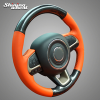 Shining wheat Black PU Carbon Fiber Orange Leather Car Steering Wheel Cover for Jeep Compass 2017 Renegade 2016 2017