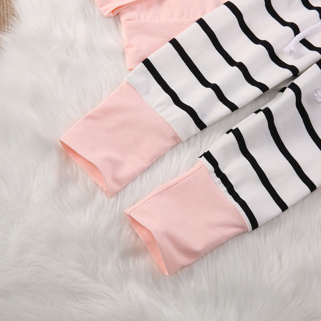 Infant Striped Toddler Newborn Baby Girl Hooded Top Long Pants Outfits 2PCS Pink Casual Clothes Set