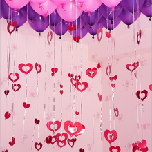 100pcs/pack Shiny Heart Shape Paperboard Cards Balloons Pendant Ribbon Wedding Decoration Balloon Accessories Party Supplies