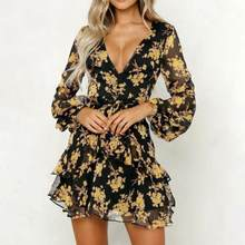 KANCOOLD Dress Womens Floral Leaf Printed Lantern Sleeve Empire Dress Ladies Summer Beach Casual Mini Dress women 2018AUG9(China)