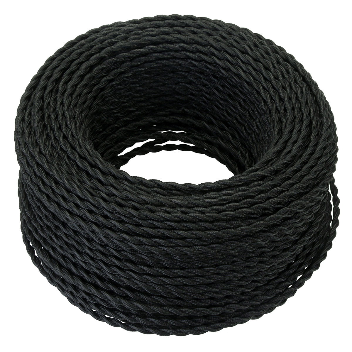 Black 5/10/20 Meters <font><b>2</b></font> <font><b>Core</b></font> Electrical Rope <font><b>Wire</b></font> Vintage Antique Braided Twisted Fabric Lighting Cable Woven Silk Flexible Cord image