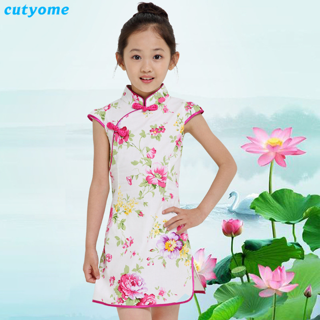 0c012b529 Cutyome Chinese Style Baby Girls Cheongsam Dresses Vintage Cotton Kids  Floral Evening Party Maxi Sundress 9 12 13 Children Qipao