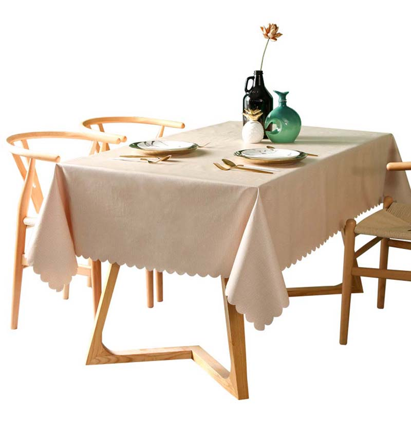 PVC Waterproof Tablecloth Solid Colour Table Cover Rectangular Anti-Hot Oil Table Cloth Carpet Wave Lace Dining Table Desk Coat