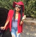 Женщины Красный Блейзер Качество Ложные Рукава Боковые Сплит Костюм Для женщин Вскользь Верхняя Одежда Дамы Блейзеры И Куртки-20