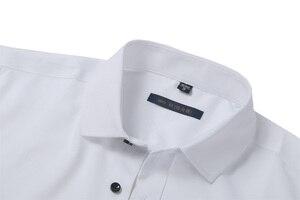 Image 5 - גברים של במבוק סיבי שמלת חולצות מקרית Slim Fit ארוך שרוול זכר חולצות חברתיות נוח ללא ברזל מוצק תחתונית Homme כחול