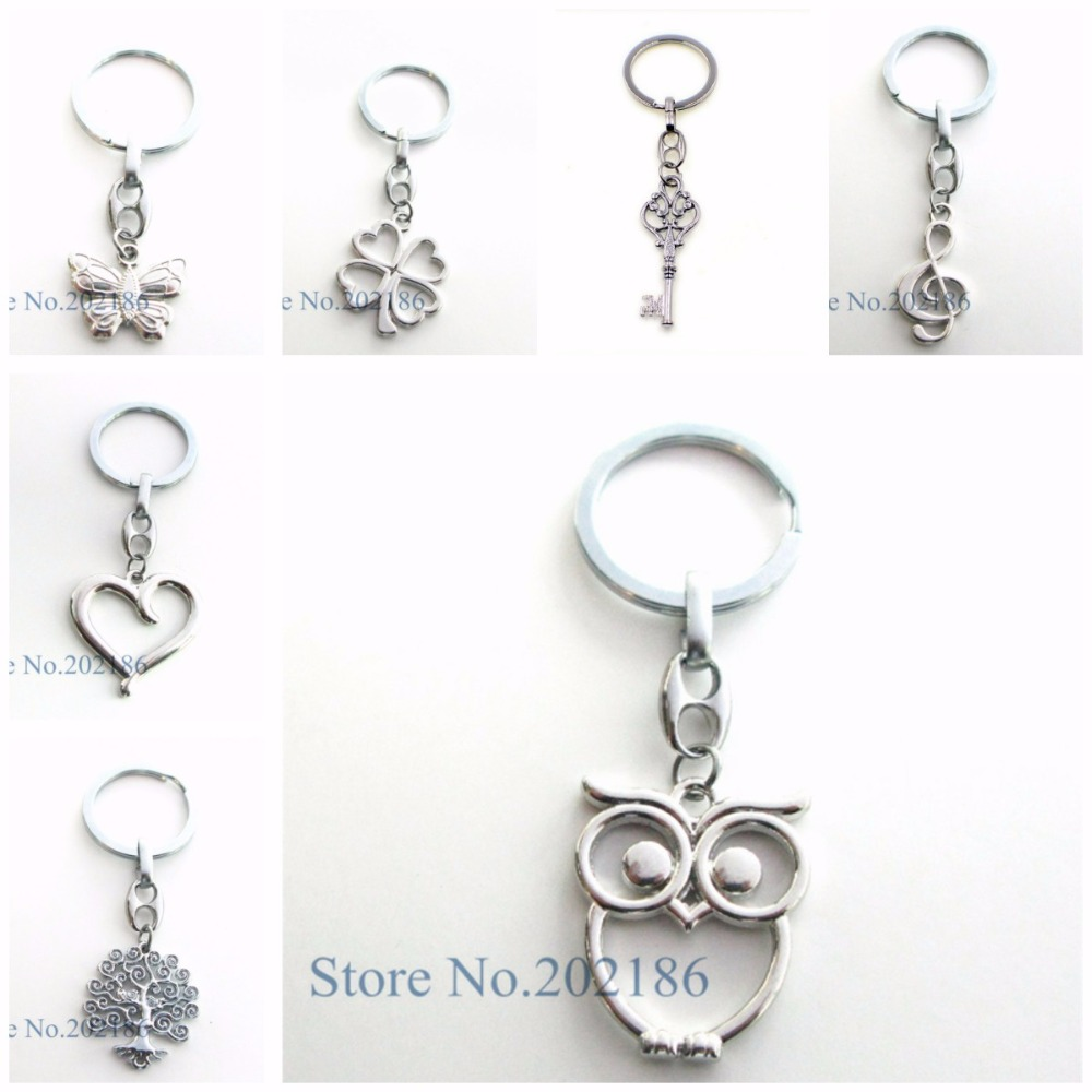 1pc Owl Tree of Life Heart Key Chain Pendant Keychain Key Ring Chain Fit Men Accessories Women Jewelry Gifts Christmas Party