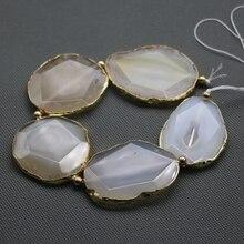C-1905 Blanco Facetado Ágata Druzy Losa de Piedra Con Cuentas de Oro Envuelto piedra Beads Conector Colgante Pulido-Full Strand/50mm Cada