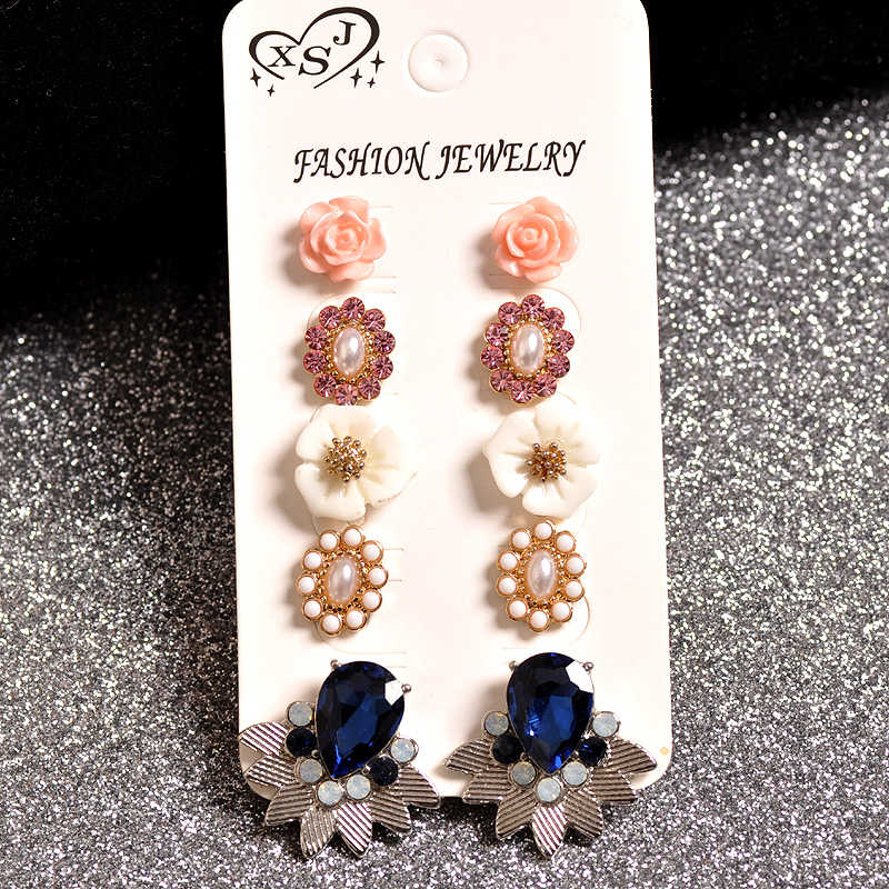 Hot new fashion women fashion jewelry wholesale girls gathering white pink mixed earrings, pearl set earrings, shipping agency