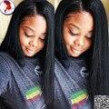 8A de la Base de Seda Superior de Seda peluca Llena Del Cordón Con el Pelo Del Bebé Pelucas Yaki Recta Para Mujer Negro Glueless Virgen del pelo Humano